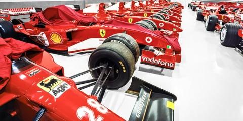 Inside the secret Ferrari garage.